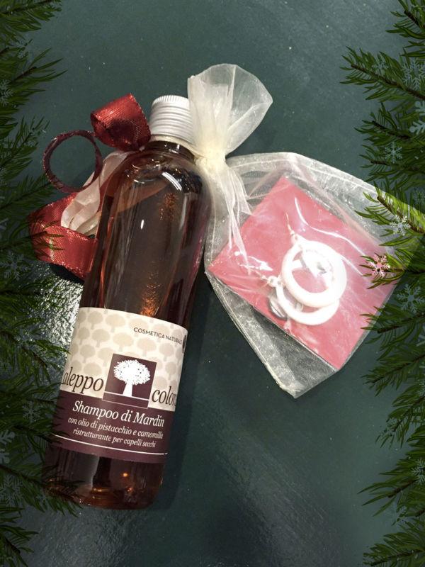Confezione regalo con Shampoo e Orecchini in Madreperla