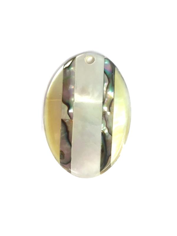 Ciondolo ovale con madreperla multicolore
