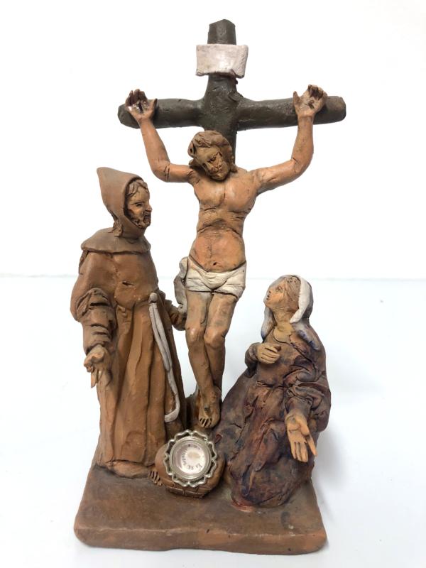 Crocefissione con San Francesco e la Madonna in terracotta