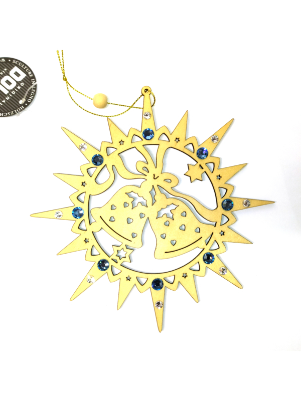 Ornamento a forma di stella con campane e cristalli Swarovski azzurri