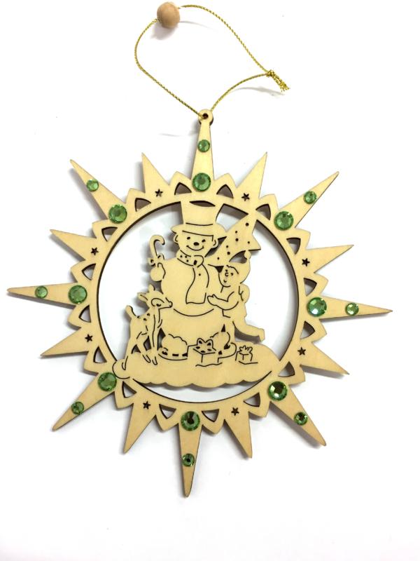 Ornamento a forma di stella con pupazzo di neve e cristalli Swarovski verdi