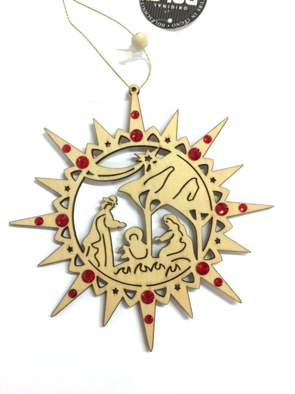 Ornamento a forma di stella con natività e cristalli Swarovski rossi
