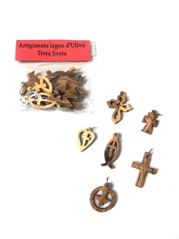 Set di ciondoli in legno d'ulivo