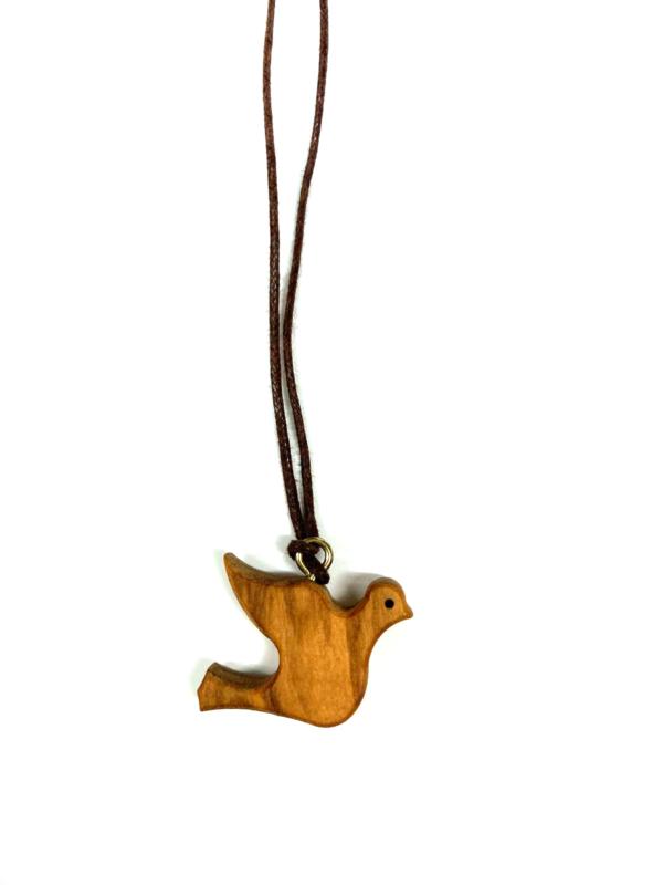 Ciondolo in legno con colomba e cordino