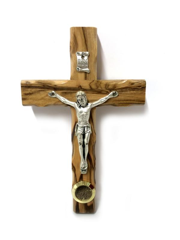Crocefisso con Cristo argentato e pietre del Getsemani