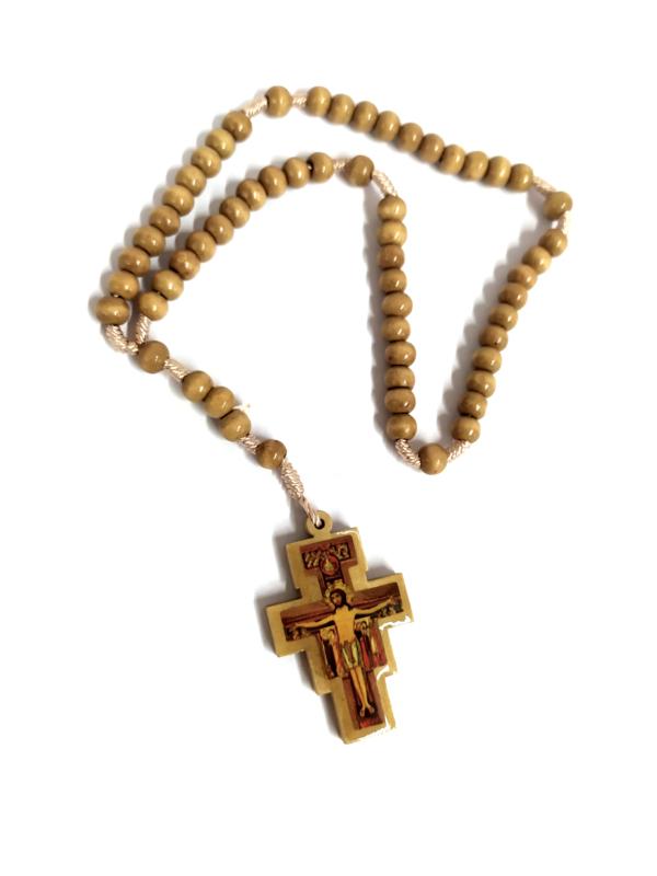 Rosario con croce di Cristo stampata