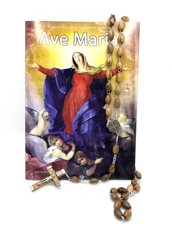 Rosario con Cristo argentato con preghiera